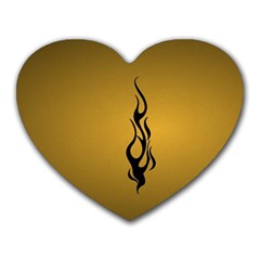 Flame black, golden background Heart Mousepads