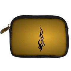 Flame black, golden background Digital Camera Cases