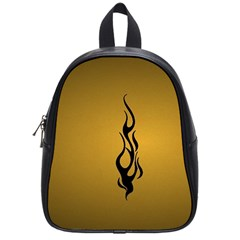 Flame black, golden background School Bags (Small)
