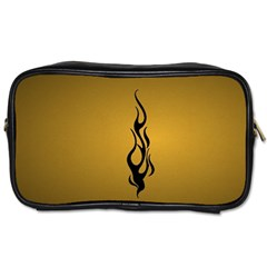 Flame black, golden background Toiletries Bags 2-Side