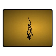 Flame Black, Golden Background Double Sided Fleece Blanket (small)