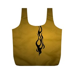 Flame black, golden background Full Print Recycle Bags (M)