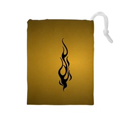 Flame black, golden background Drawstring Pouches (Large)