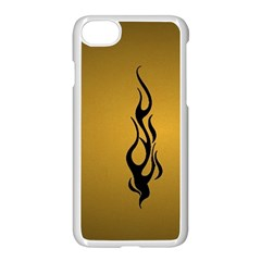 Flame Black, Golden Background Apple Iphone 7 Seamless Case (white)