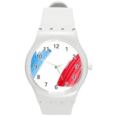 Tricolor banner france Round Plastic Sport Watch (M)