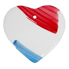 Tricolor banner watercolor painting, red blue white Ornament (Heart)