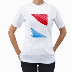 Tricolor banner watercolor painting, red blue white Women s T-Shirt (White) (Two Sided)