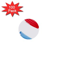 Tricolor banner watercolor painting, red blue white 1  Mini Buttons (100 pack)