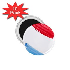 Tricolor banner watercolor painting, red blue white 1.75  Magnets (10 pack)