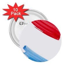 Tricolor banner watercolor painting, red blue white 2.25  Buttons (10 pack)