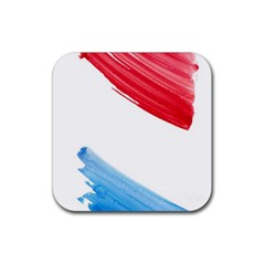 Tricolor banner watercolor painting, red blue white Rubber Coaster (Square)