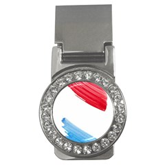 Tricolor banner watercolor painting, red blue white Money Clips (CZ)