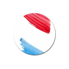 Tricolor banner watercolor painting, red blue white Magnet 3  (Round)