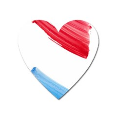 Tricolor banner watercolor painting, red blue white Heart Magnet