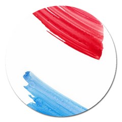 Tricolor banner watercolor painting, red blue white Magnet 5  (Round)