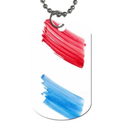 Tricolor banner watercolor painting, red blue white Dog Tag (Two Sides)