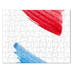 Tricolor banner watercolor painting, red blue white Rectangular Jigsaw Puzzl