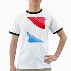 Tricolor banner watercolor painting, red blue white Ringer T-Shirts