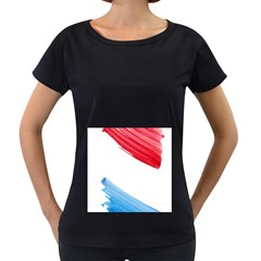 Tricolor banner watercolor painting, red blue white Women s Loose-Fit T-Shirt (Black)