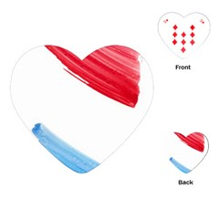 Tricolor banner watercolor painting, red blue white Playing Cards (Heart)