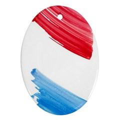 Tricolor banner watercolor painting, red blue white Oval Ornament (Two Sides)
