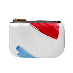 Tricolor banner watercolor painting, red blue white Mini Coin Purses