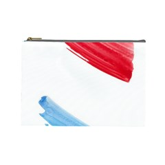 Tricolor banner watercolor painting, red blue white Cosmetic Bag (Large)