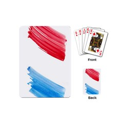 Tricolor banner watercolor painting, red blue white Playing Cards (Mini)