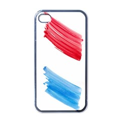Tricolor banner watercolor painting, red blue white Apple iPhone 4 Case (Black)