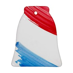 Tricolor banner watercolor painting, red blue white Ornament (Bell)
