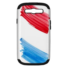 Tricolor banner watercolor painting, red blue white Samsung Galaxy S III Hardshell Case (PC+Silicone)