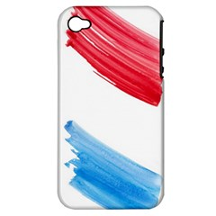 Tricolor banner watercolor painting, red blue white Apple iPhone 4/4S Hardshell Case (PC+Silicone)