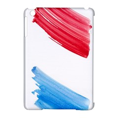 Tricolor banner watercolor painting, red blue white Apple iPad Mini Hardshell Case (Compatible with Smart Cover)