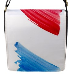 Tricolor banner watercolor painting, red blue white Flap Messenger Bag (S)