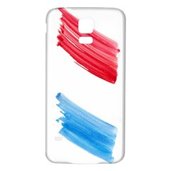 Tricolor Banner Watercolor Painting, Red Blue White Samsung Galaxy S5 Back Case (white)