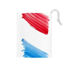 Tricolor banner watercolor painting, red blue white Drawstring Pouches (Medium)