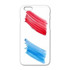Tricolor banner watercolor painting, red blue white Apple iPhone 6/6S White Enamel Case