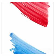 Tricolor banner watercolor painting, red blue white Large Satin Scarf (Square)
