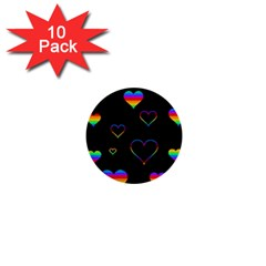 Rainbow harts 1  Mini Buttons (10 pack)