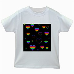 Rainbow Harts Kids White T Shirts