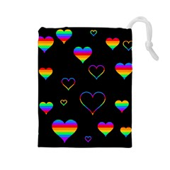 Rainbow harts Drawstring Pouches (Large)