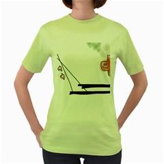 Car Love Birds Birds Pink Car Women s Green T-Shirt