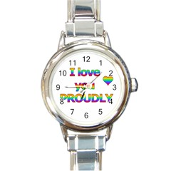 I love you proudly 2 Round Italian Charm Watch