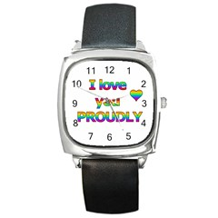 I love you proudly 2 Square Metal Watch