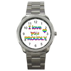 I love you proudly 2 Sport Metal Watch