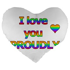 I love you proudly 2 Large 19  Premium Heart Shape Cushions