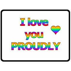I love you proudly 2 Double Sided Fleece Blanket (Large)