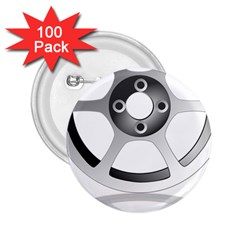 Car Wheel Chrome Rim 2.25  Buttons (100 pack)