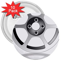 Car Wheel Chrome Rim 3  Buttons (10 pack)