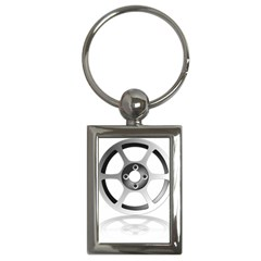 Car Wheel Chrome Rim Key Chains (Rectangle)
